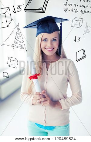education and school concept - happy student in graduation cap with certificate