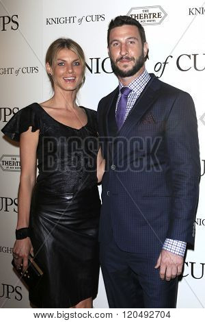 LOS ANGELES - MAR 1:  Angela Lindvall, Pablo Schreiber at the Knight of Cups Premiere at the The Theatre at The ACE Hotel on March 1, 2016 in Los Angeles, CA