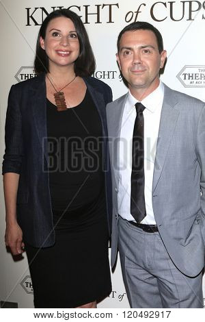 LOS ANGELES - MAR 1:  Beth Dover, Joe Lo Truglio at the Knight of Cups Premiere at the The Theatre at The ACE Hotel on March 1, 2016 in Los Angeles, CA