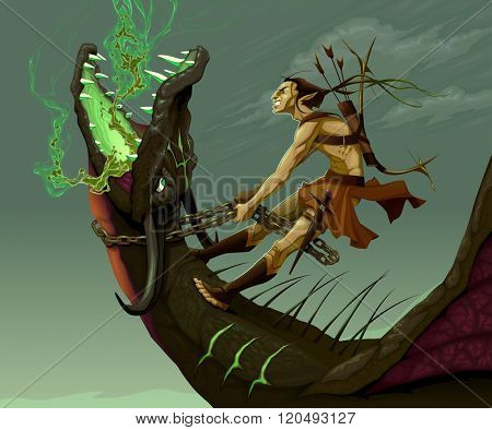 Elf is riding the dragon. Vector fantasy illustration