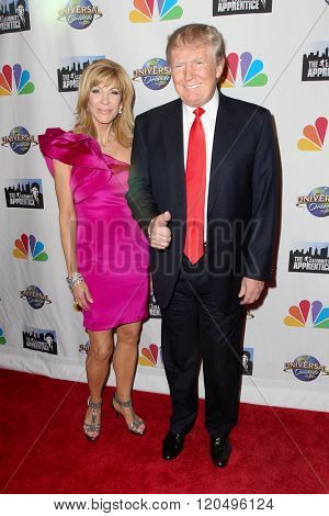 NEW YORK-FEB 16: Leeza Gibbons (L) and Donald Trump attend 'The Celebrity Apprentice' finale at Trump Tower on February 16, 2015 in New York City.