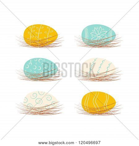 Set of Easter eggs in nests