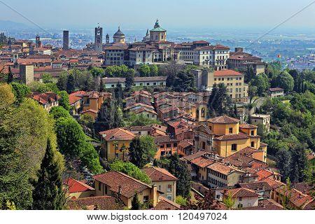 View at Old Town Citta Alta of Bergamo from San Vigilio Hill.