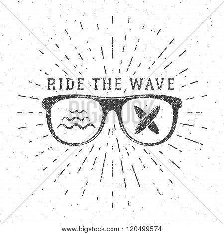 Vintage Surfing Graphics and Poster for web design or print. Surfer glasses emblem, summer beach log