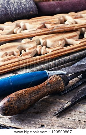 Tools for decorative woodworking in retro style poster