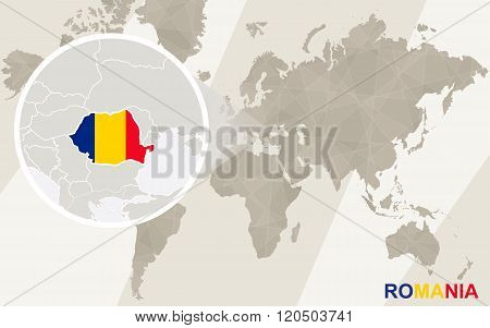 Zoom On Romania Map And Flag. World Map.