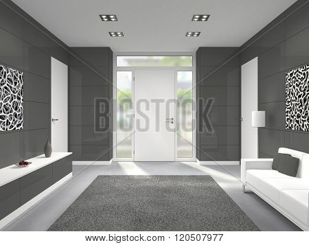modern entrance interior with front door