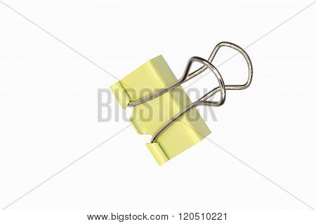 Yelllow Paper clip isolated on white background