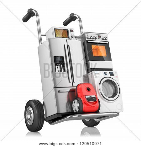 Household Appliances On Shopping Cart, Isolated On White Background 3D