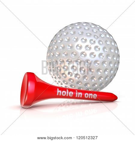 Golf ball and tee. Hole in one sign. Isolated over white background. 3D