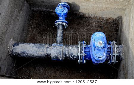 Picture of a New water valves and pipes for water pipeline