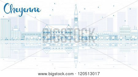 Outline Cheyenne skyline with blue buildings and reflections. Business travel and tourism concept with place for text. Image for presentation, banner, placard and web site.