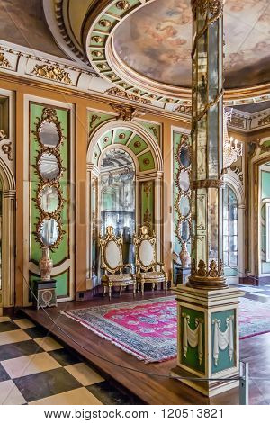Queluz, Portugal - September 16, 2015: Ambassador's Room (Sala dos Embaixadores) in the Queluz Palace, Portugal. Formerly used as the Summer residence by the Portuguese royal family.