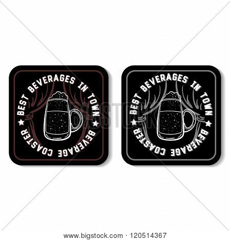 Square beverage coasters isolated on white background. Vector illustration. poster