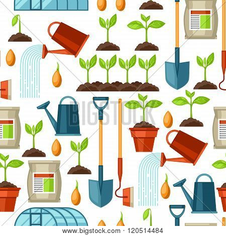 Seamless pattern with agriculture objects. Instruments for cultivation, plants seedling process, sta