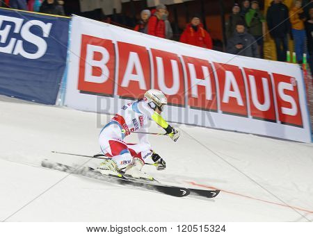 STOCKHOLM SWEDEN - FEB 23 2016: Wendy Holdener (SUI) skiing at the FIS Alpine Ski World Cup - city event February 23 2016 Stockholm Sweden