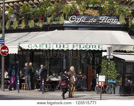The Famous Cafe De Flore, Paris, France.