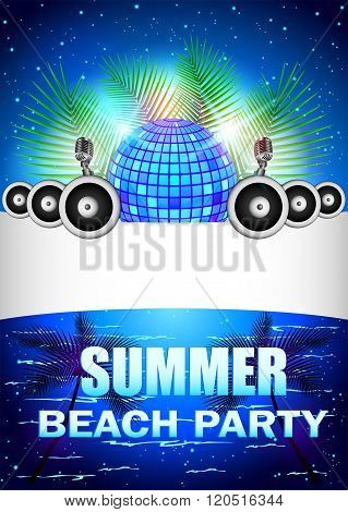 Summer Beach Party With disco ball and speakers