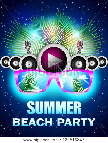 Summer beach party with speakers and sunglasses