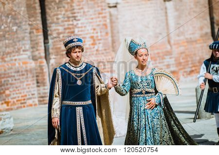 Couple Of Medieval Nobles On Parade