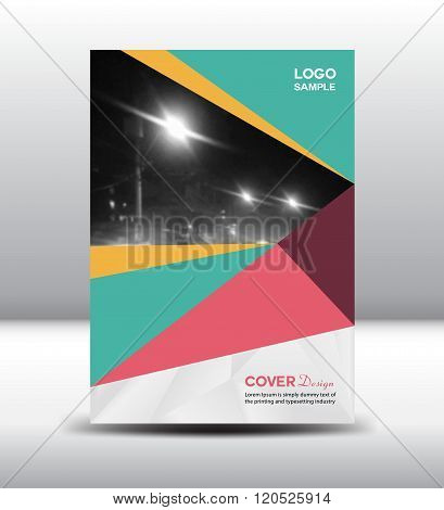 Green And Pink Cover Design Template Vector Illustration
