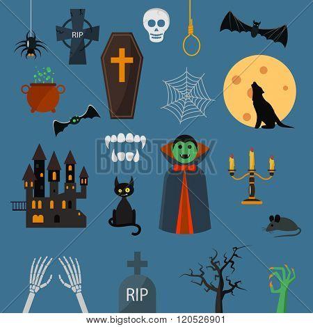 Vampire dracula symbols icons vector set. Vampire dracula symbolscharacter design cartoon elements. Vampire dracula symbols vector illustration. Zombie hand. black cat, castle.Halloween symbols