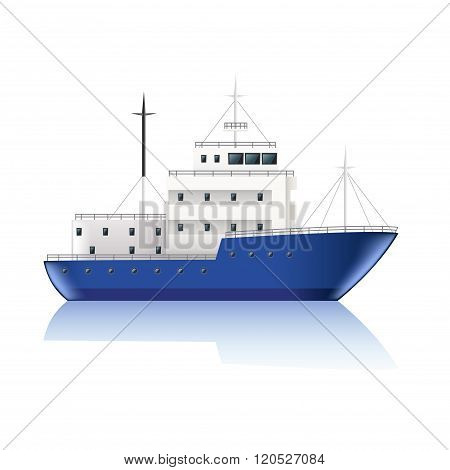 Small Ship Isolated On White Vector