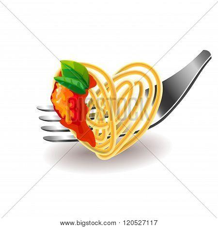 Spaghetti On Fork Isolated Vector