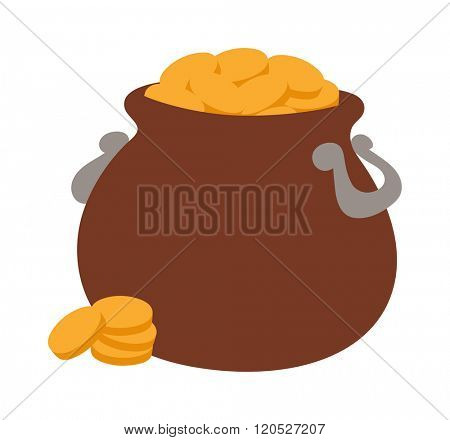 Gold pot vector illustration icon. Gold pot isolated on background. Gold pot cartoon style. Vector Gold pot. Gold pot modern style
