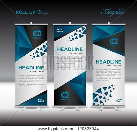 Blue Roll Up Banner Template Vector Illustration Polygon Background