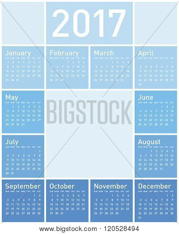 Blue Calendar For Year 2017, In Vector Format.