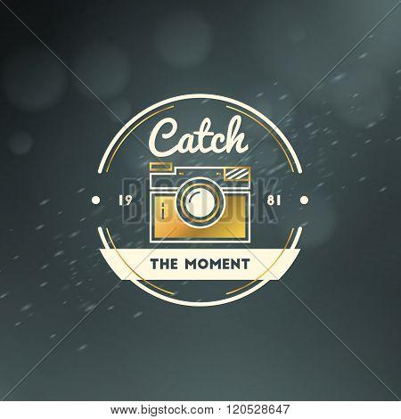 Photography Logo Design Template. Photography Retro Golden Badge. Wedding Photography. Photo Studio.