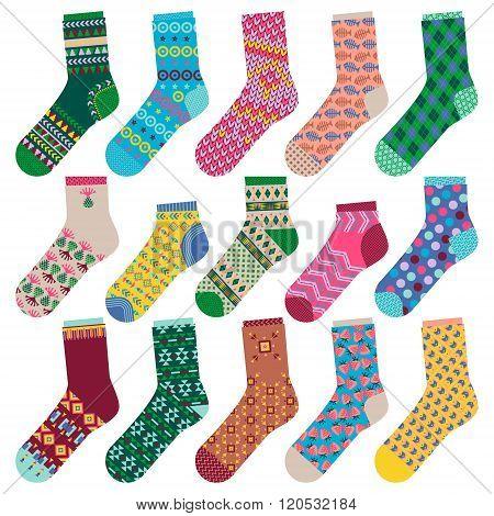 Set Of 15 Various Multi-colored Socks.