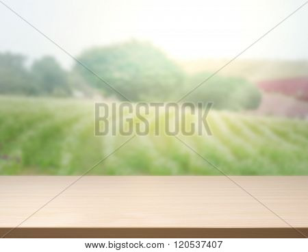 Table Top And Blur Nature Of Background