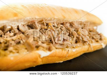 Sandvich With Chicken, Gyros Meat And Vegetables. Delicious Healthy Energy Meal.