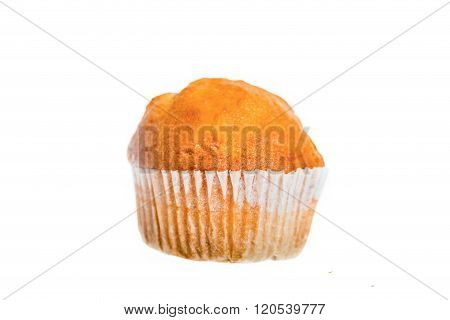 One Fresh Baked Double Chip Muffin Isolated On White