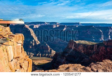 Grand Canyon, USA - Decenber 28, 2010: People on the cantilevered lookout in the West Rim of the Grand Canyon.