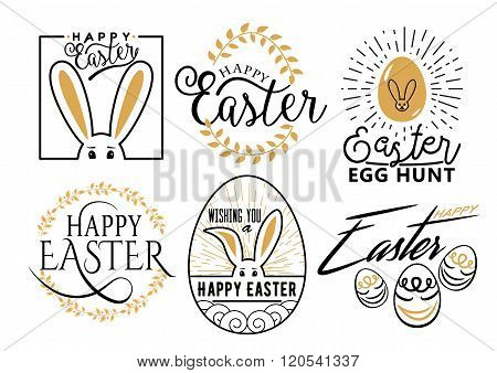 Easter wishes lettering labels design set. Retro holiday easter badges.