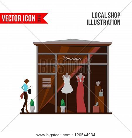 Clothing store. Man and woman vector boutique