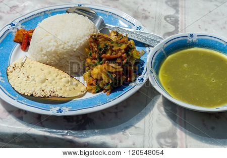 Traditional Nepalese dish Dal Bhat best meal for Everest trekkers