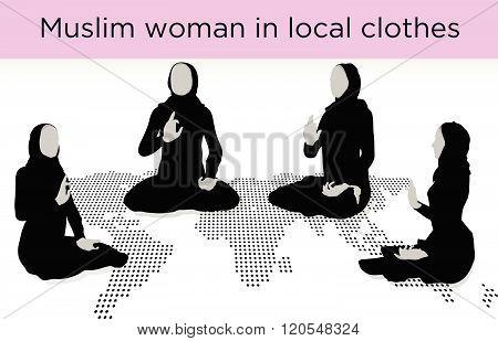 Muslim Woman Silhouette In Awakened Pose