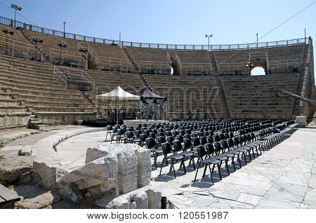 Modern Seats Of The Ancient Theater  In Caesarea, Israel