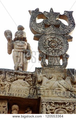 Top Of Gateway At Sanchi