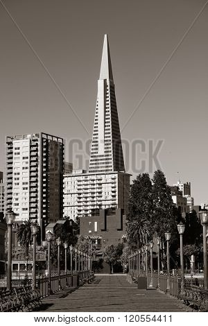 San Francisco, CA - MAY 11: Transamerica Pyramid and pier on May 11, 2014 in San Francisco. It is the tallest building and the famous landmark in San Francisco