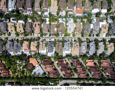 Top View of Houses in a neighborhood area