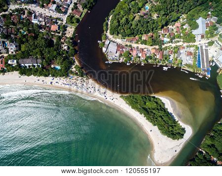 Top View of Exotic Beach in Brazil