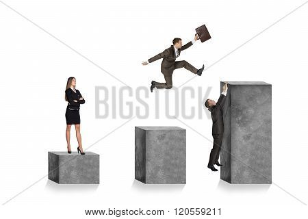 Businesspeople on square stones