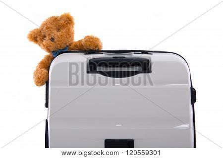 White Luggage Isolated