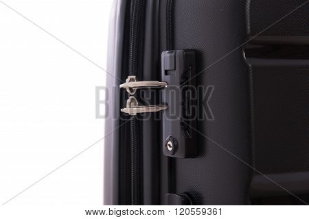 Close up lock on the black luggage. poster
