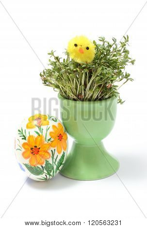 Easter Chicken On Watercress In Green Cup And Painted Egg